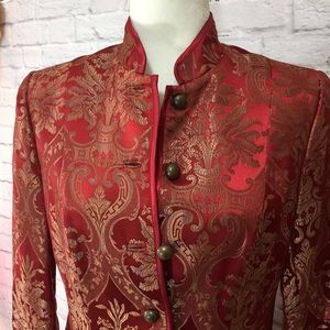 H&M red gold paisley brocade long blazer jacket